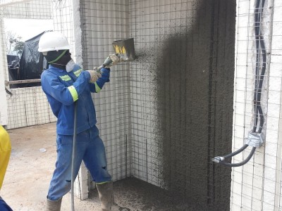 24th October 2015 Abetifi Hospital Concrete Wall Spraying